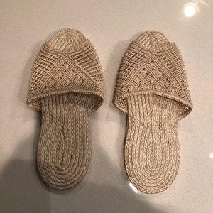 Tan braided slippers
